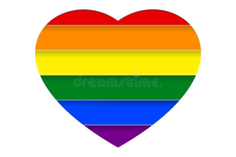 Färgrik regnbåge som göras randig bak vit hjärtaform i papperssnittstil också vektor för coreldrawillustration stock illustrationer