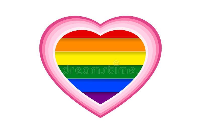 Färgrik regnbåge som göras randig bak vit hjärtaform i papperssnittstil Vektorillustration, EPS10 royaltyfri illustrationer
