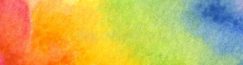 Färgrik regnbågevattenfärgbakgrund - abstrakt textur stock illustrationer
