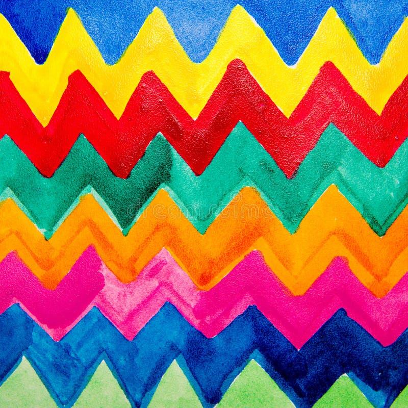 Färgrik remsavattenfärg stock illustrationer