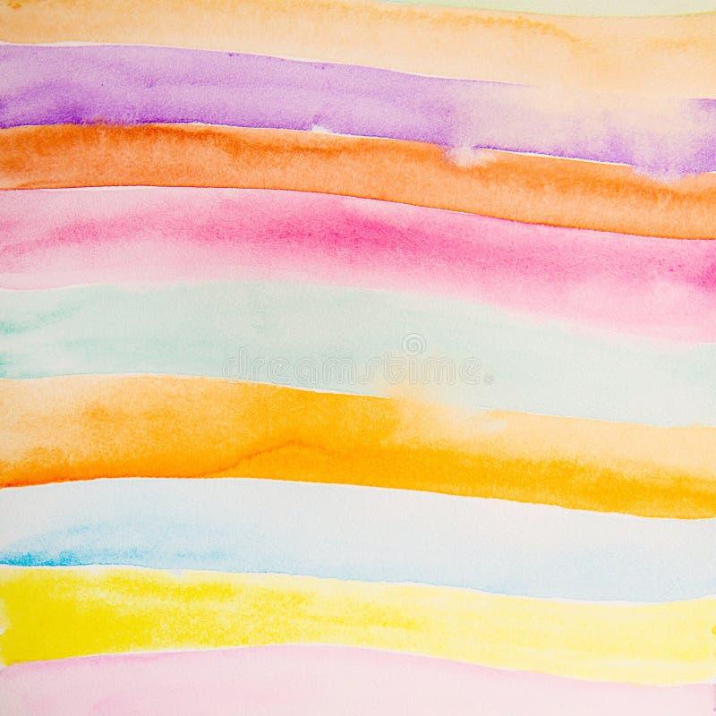 Färgrik remsavattenfärg royaltyfri illustrationer