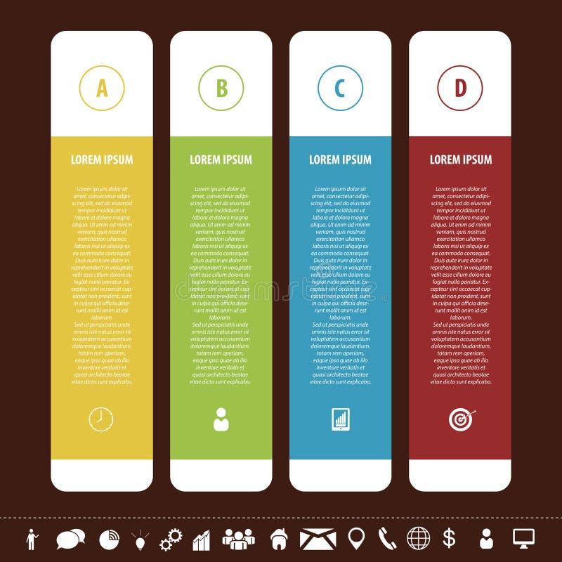 Färgrik ren banermall med symboler Infographics vektor stock illustrationer