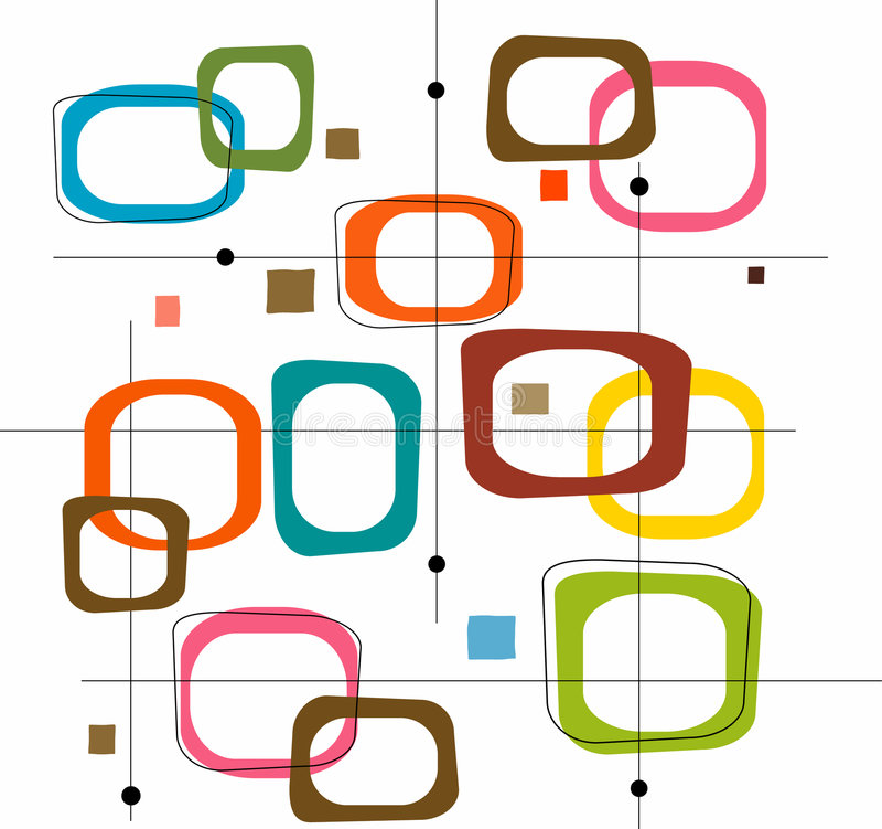färgrik retro fyrkantvektor stock illustrationer