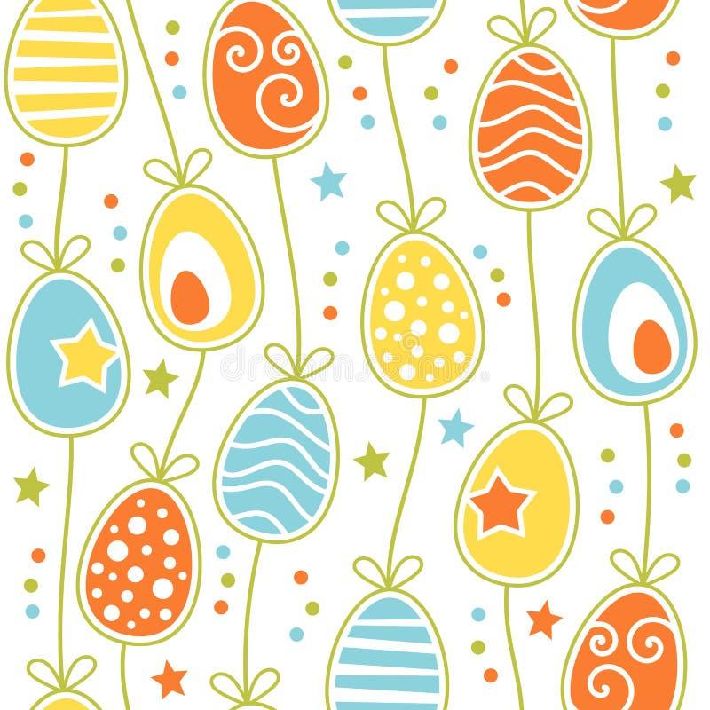 Färgrik Retro sömlös tegelplatta för påskägg stock illustrationer