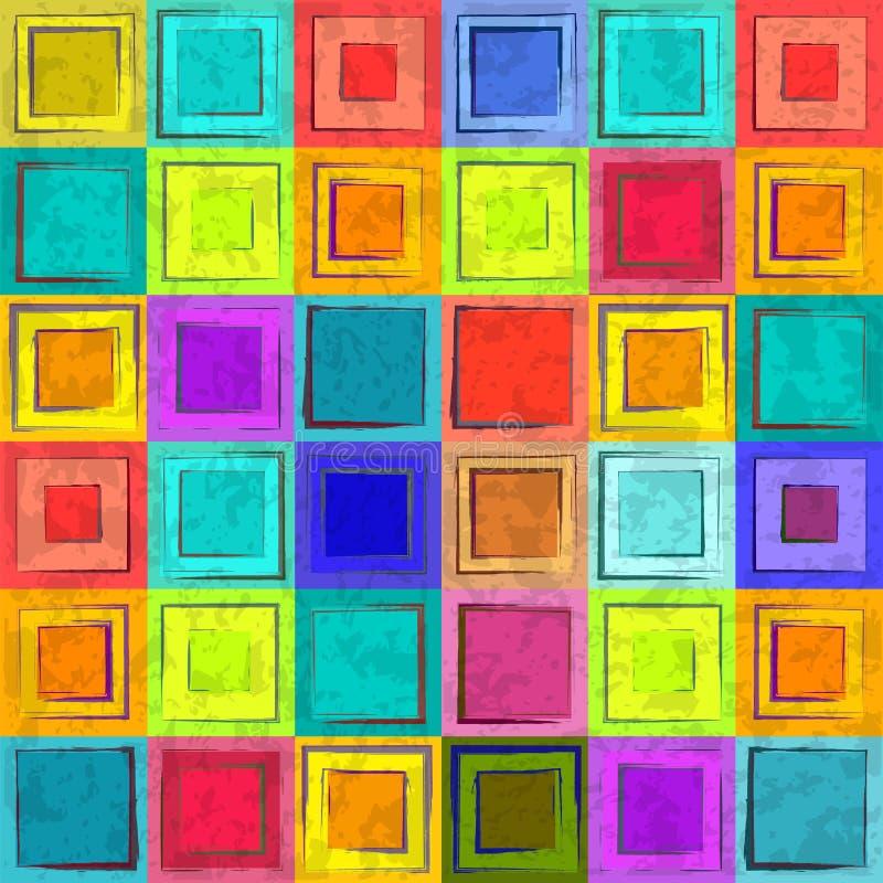Färgrik retro seamless bakgrund för Grunge stock illustrationer