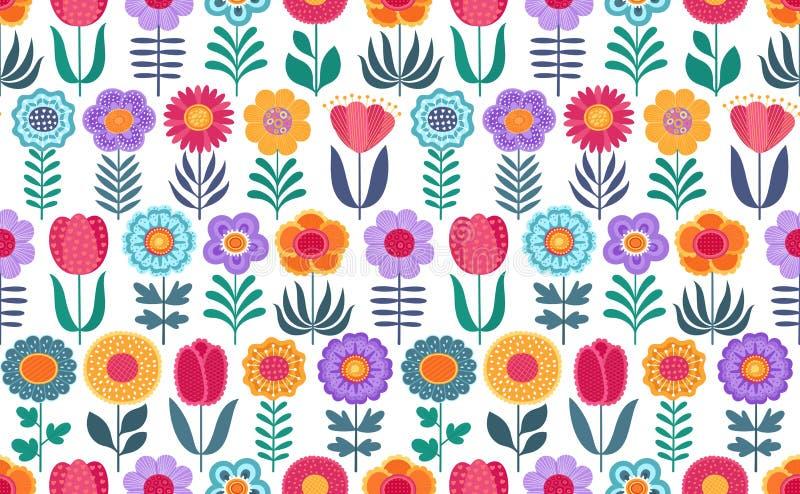 Färgrik rolig sömlös vektormodell med blommor på vit bakgrund stock illustrationer