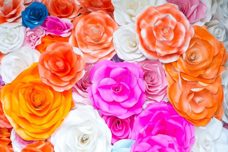 Färgrik Rose Flower Paper för abstrakt tapetregnbåge bakgrund royaltyfri bild