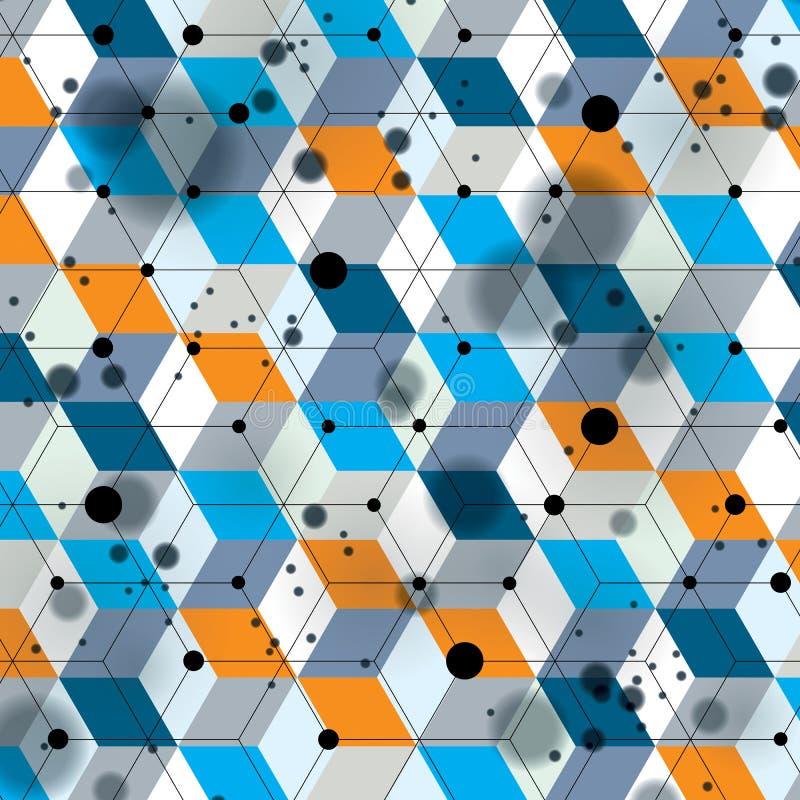 Färgrik rumslig beläggning för galler 3d, invecklad bakgrund för op konst med geometriska former, eps10 Vetenskap och tekniktema stock illustrationer