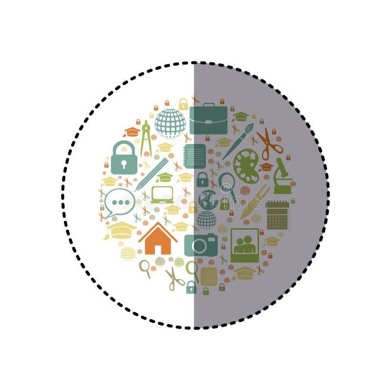 färgrik rund form för klistermärke med akademiska beståndsdelar royaltyfri illustrationer