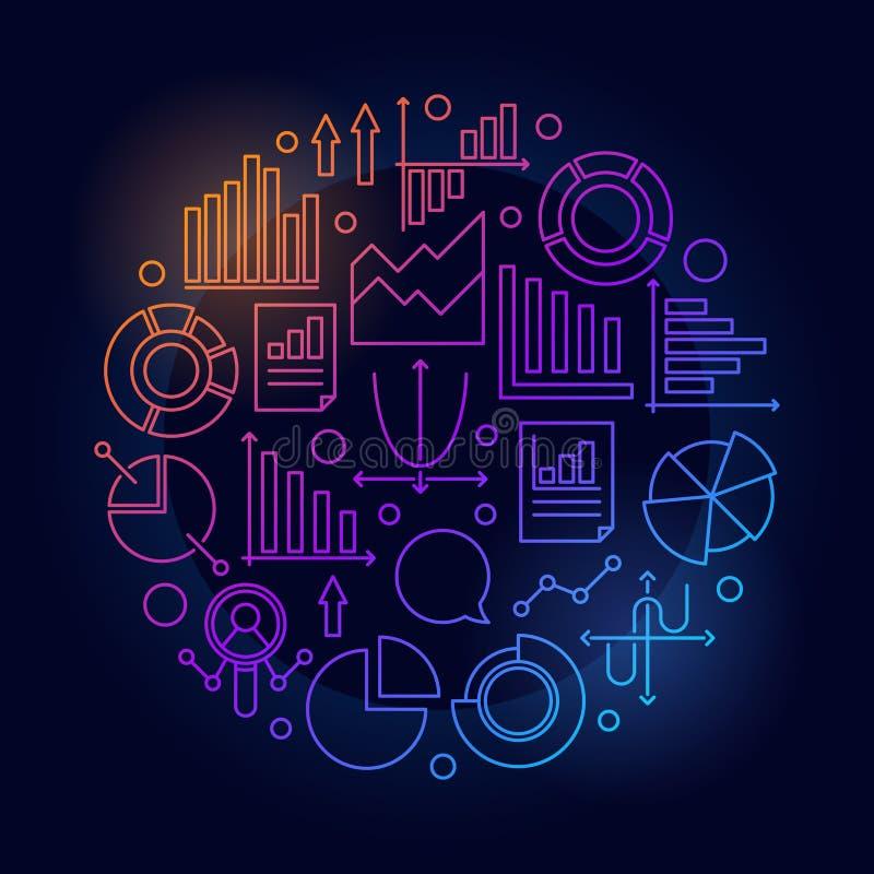 Färgrik rund illustration för Analytics royaltyfri illustrationer