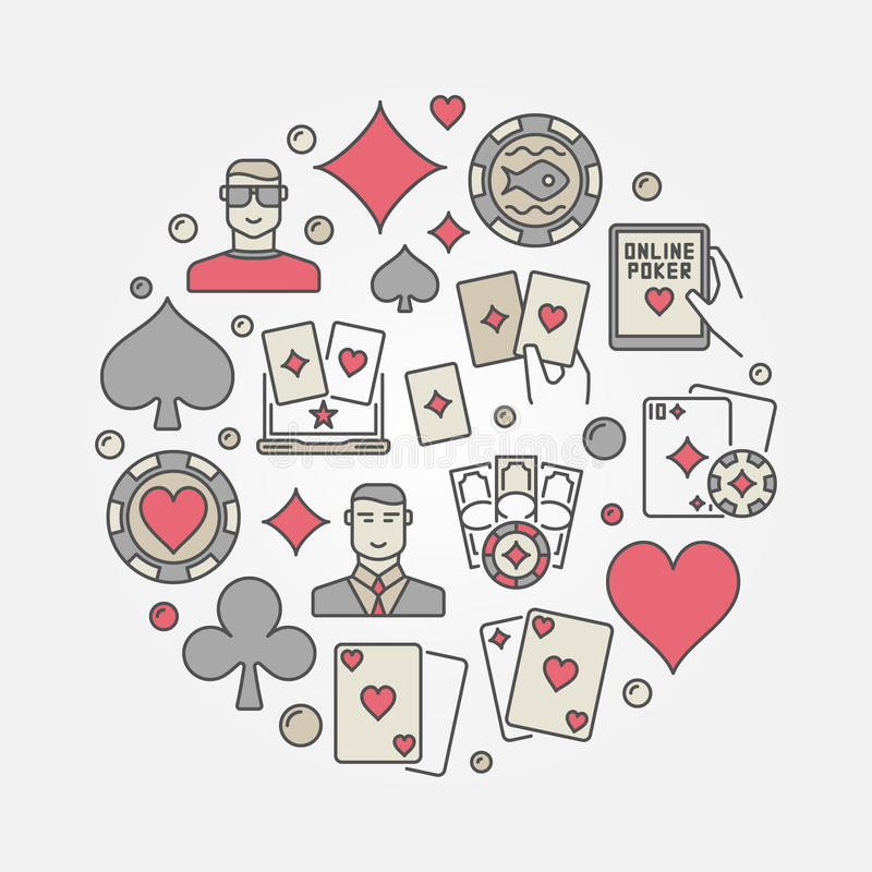 Färgrik rund illustration för poker royaltyfri illustrationer