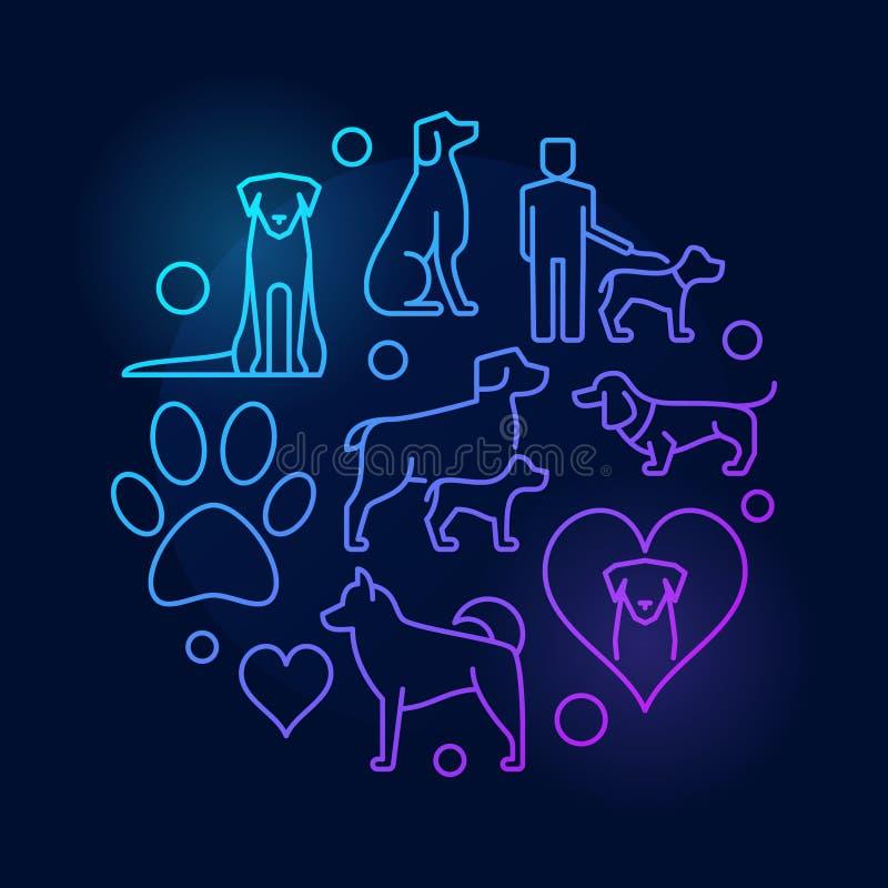 Färgrik rund illustration med hundsymboler - vektortecken på mörker royaltyfri illustrationer