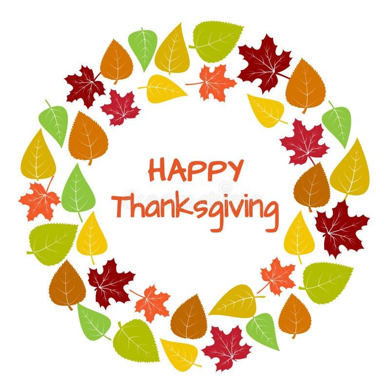 Färgrik rund ram och bakgrund av höstsidor för lycklig tacksägelse vektor royaltyfri illustrationer