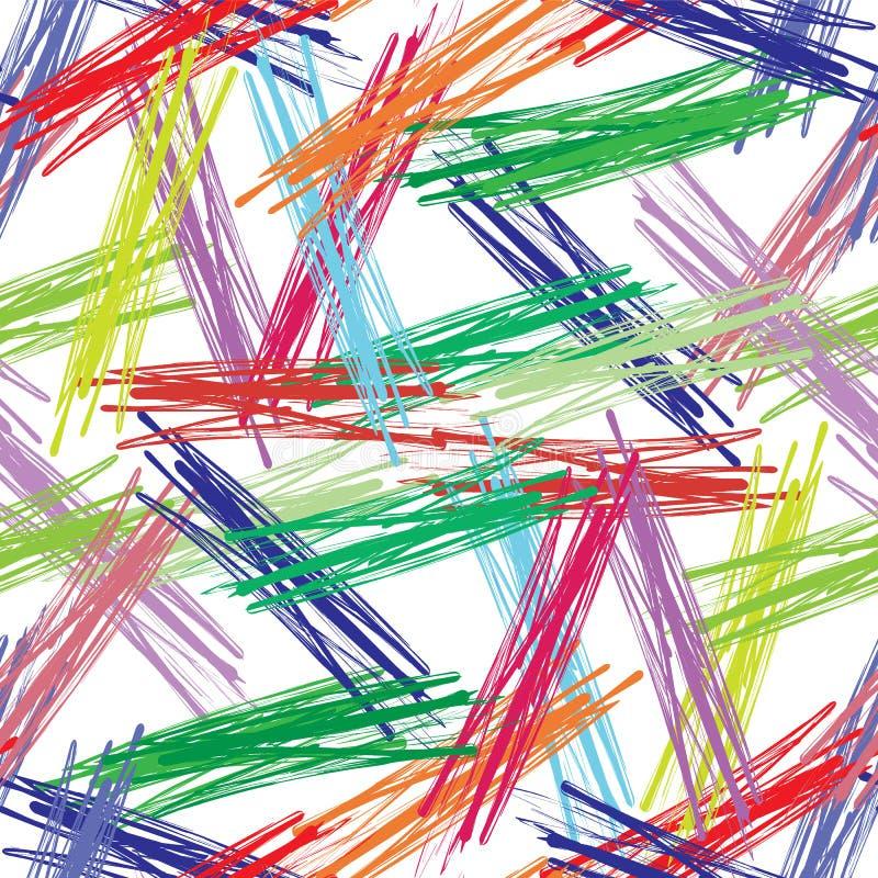 Färgrik sömlös bakgrund av färgrika borstar royaltyfri illustrationer