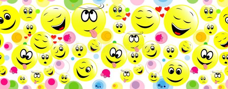 Färgrik sömlös bakgrund av roliga smileyframsidor vektor illustrationer