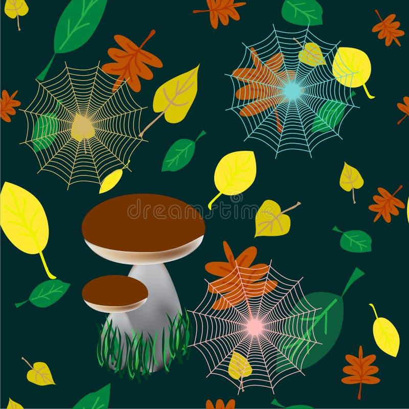Färgrik sömlös bakgrund av vita champinjoner i skogen, sidor, spindelnät, räkningsdesignmall för tygpresentation, vektor illustrationer