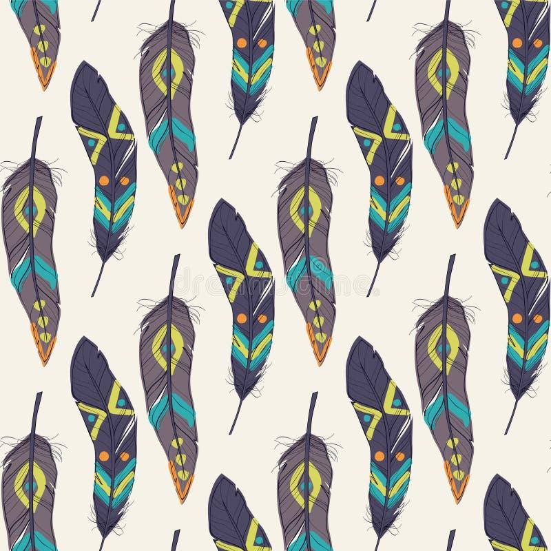 Färgrik sömlös etnisk modell för vektor med dekorativa fjädrar stock illustrationer