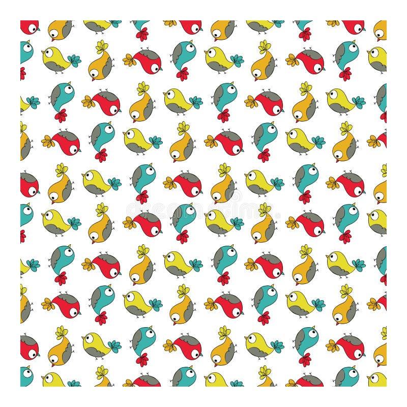 Färgrik sömlös fågelmodell för klotter royaltyfri illustrationer