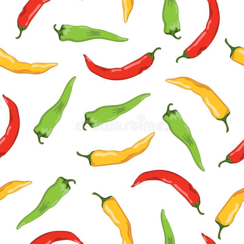 Färgrik sömlös grönsakmodell med glödheta chilipeppar stock illustrationer