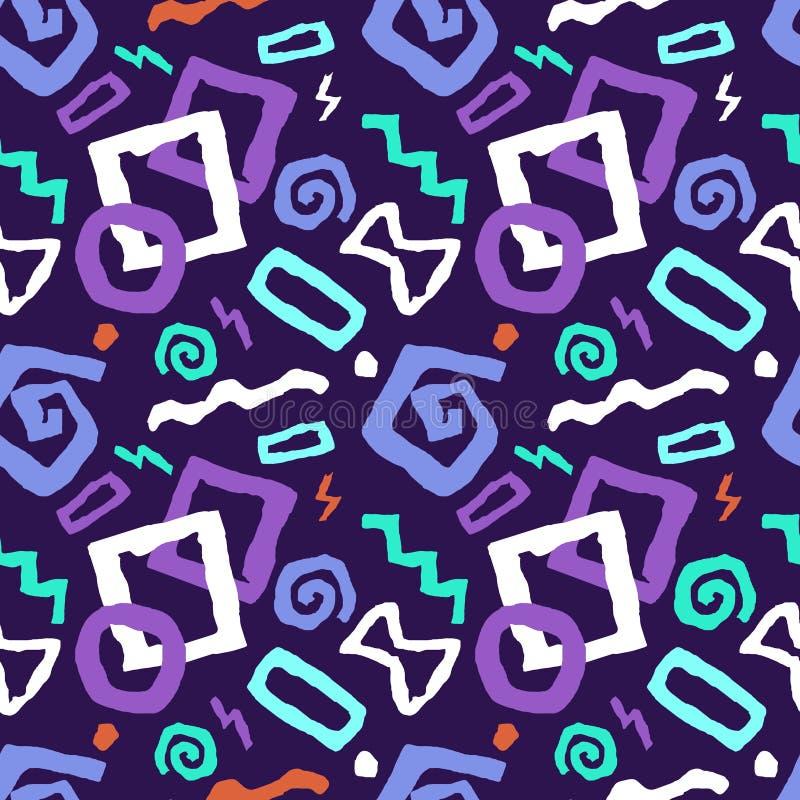 Färgrik sömlös illustration för vektor för klotterkonstmodell i purp stock illustrationer