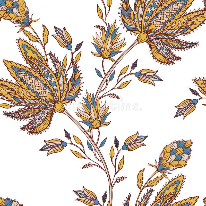 Färgrik sömlös indisk modell Paisley etnisk blom- bakgrund Stiliserade blommor, växter Design för den hem- dekoren, tyg, stock illustrationer