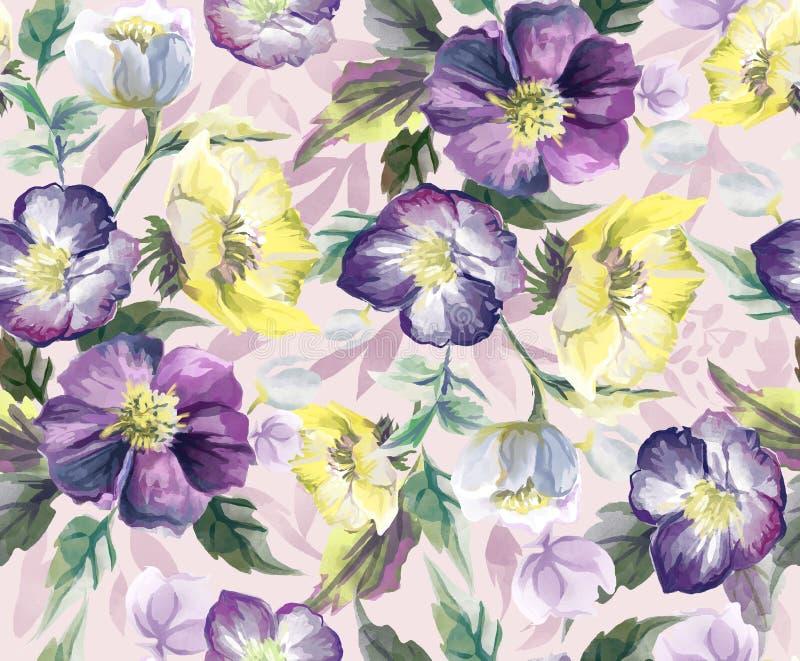 Färgrik sömlös modell av blommor vattenfärg vektor illustrationer