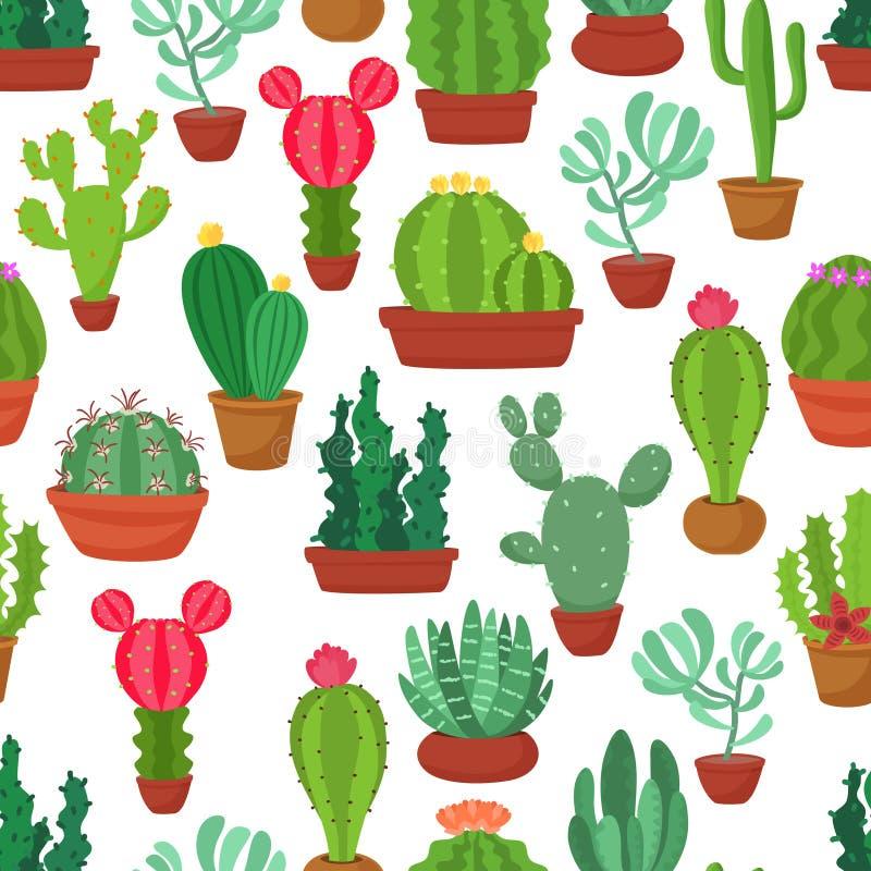 Färgrik sömlös modell av den roliga kaktuns och suckulenten Houseplant och lös kaktusbakgrund vektor illustrationer