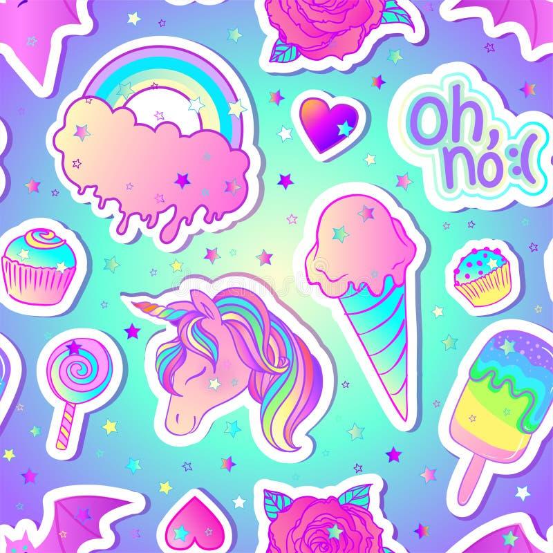 Färgrik sömlös modell: enhörning sötsaker, regnbåge, glass, klubba, muffin, ros, slagträ också vektor för coreldrawillustration K stock illustrationer