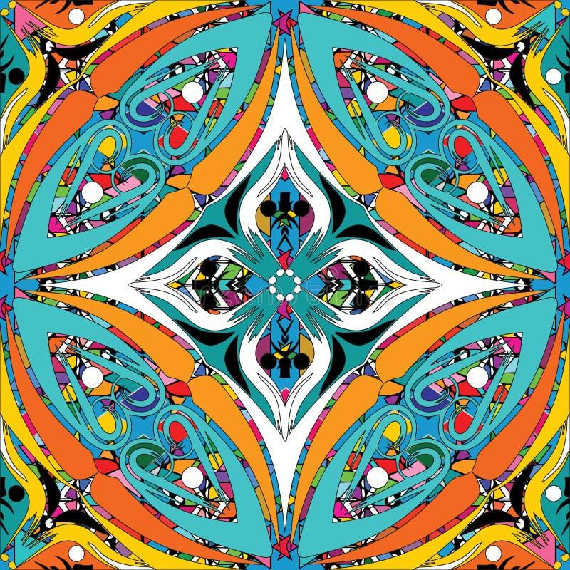 Färgrik sömlös modell för blom- etnisk stil Dekorativ vektor vektor illustrationer