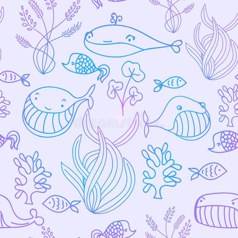 Färgrik sömlös modell för för blått och violett oceaniskt hav med det gulliga valet royaltyfri illustrationer