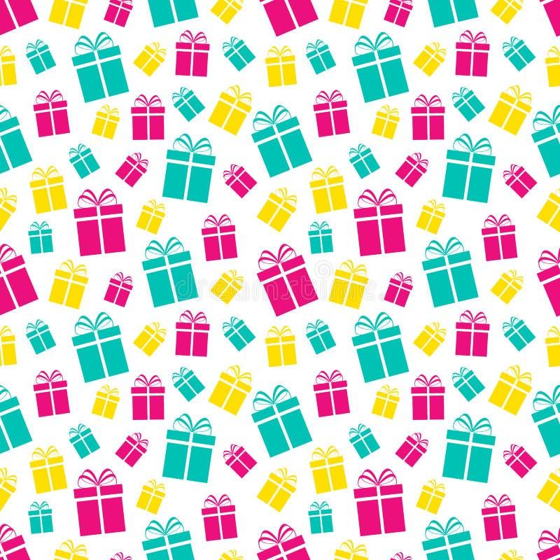 Färgrik sömlös modell för gåvaaskar Semestrar bakgrund Kulöra lägenhetgåvasymboler Upprepa textur också vektor för coreldrawillus royaltyfri illustrationer