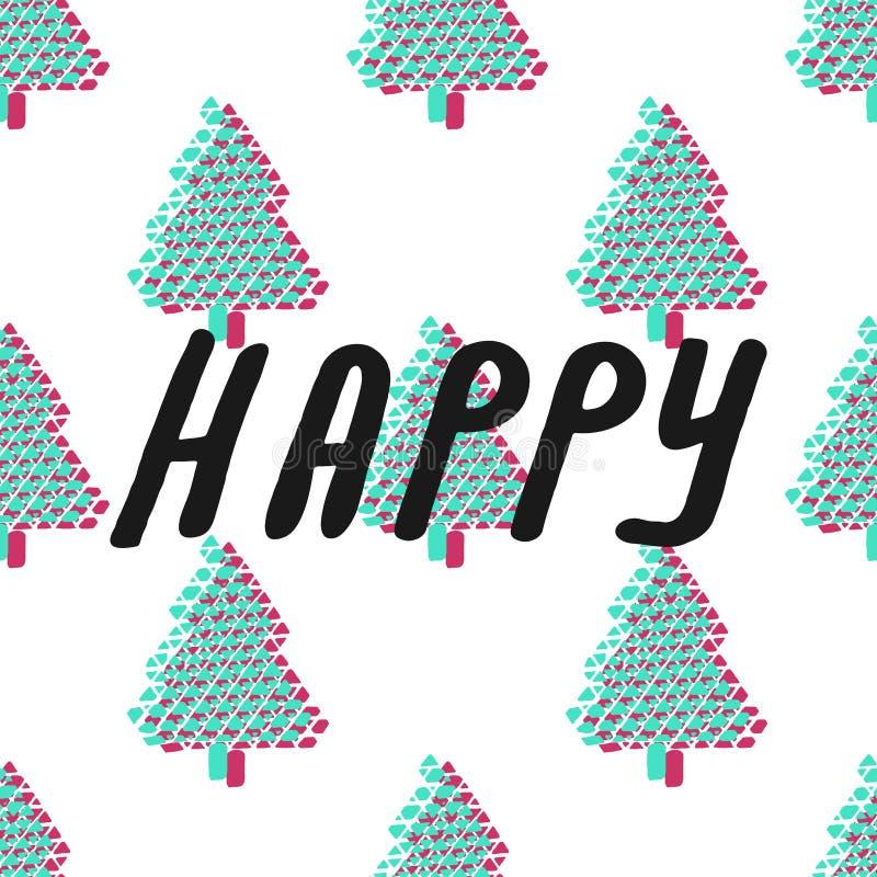 Färgrik sömlös modell för granträd också vektor för coreldrawillustration härlig vektor för julillustrationtrees lyckligt nytt år royaltyfri illustrationer
