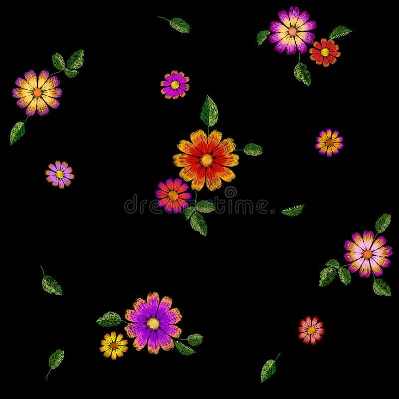 Färgrik sömlös modell för ljus blommabroderi Sydd texturmall för mode garnering Traditionell person som tillhör en etnisk minorit stock illustrationer