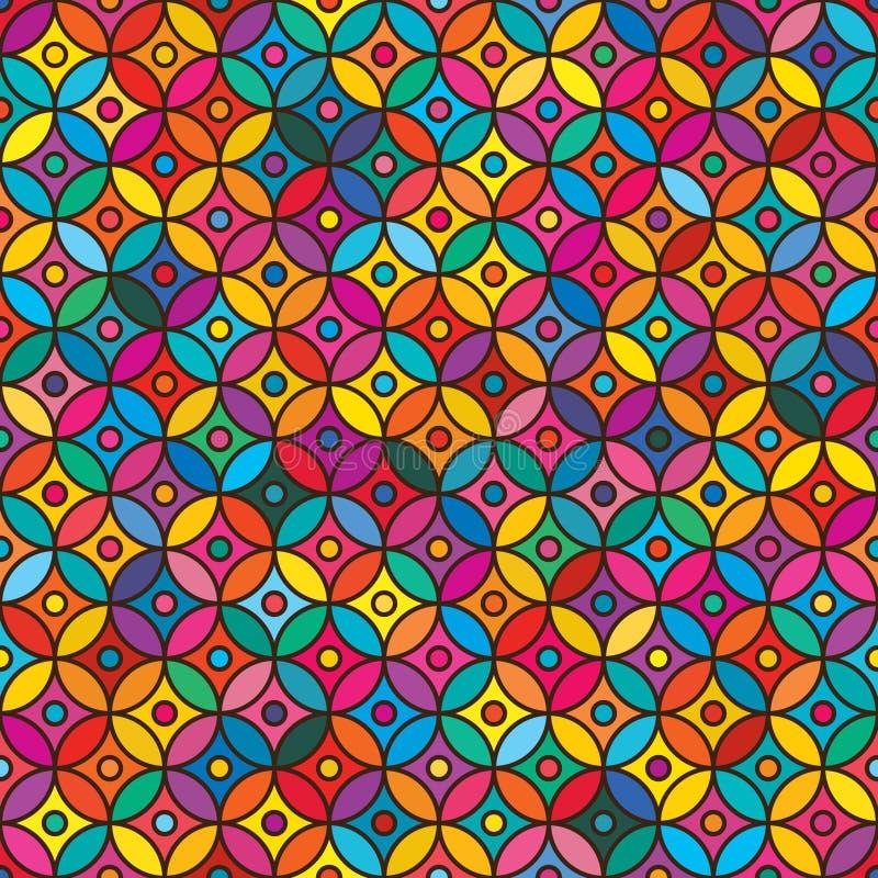 Färgrik sömlös modell för Ramadancirkel royaltyfri illustrationer