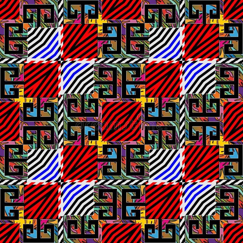 Färgrik sömlös modell för randiga kontroller Dekorativ kontrollbakgrund för vektor Upprepa den ljusa geometriska bakgrunden abstr vektor illustrationer