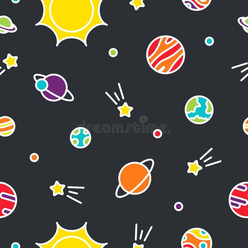 Färgrik sömlös modell för universum med planeter och stjärnor stock illustrationer