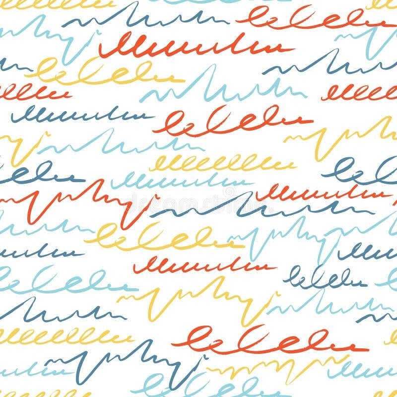 Färgrik sömlös modell för vektor med borsteslaglängdbokstaven fantasin blommar fractalbildsommar Regnbågefärg på vit bakgrund Han stock illustrationer