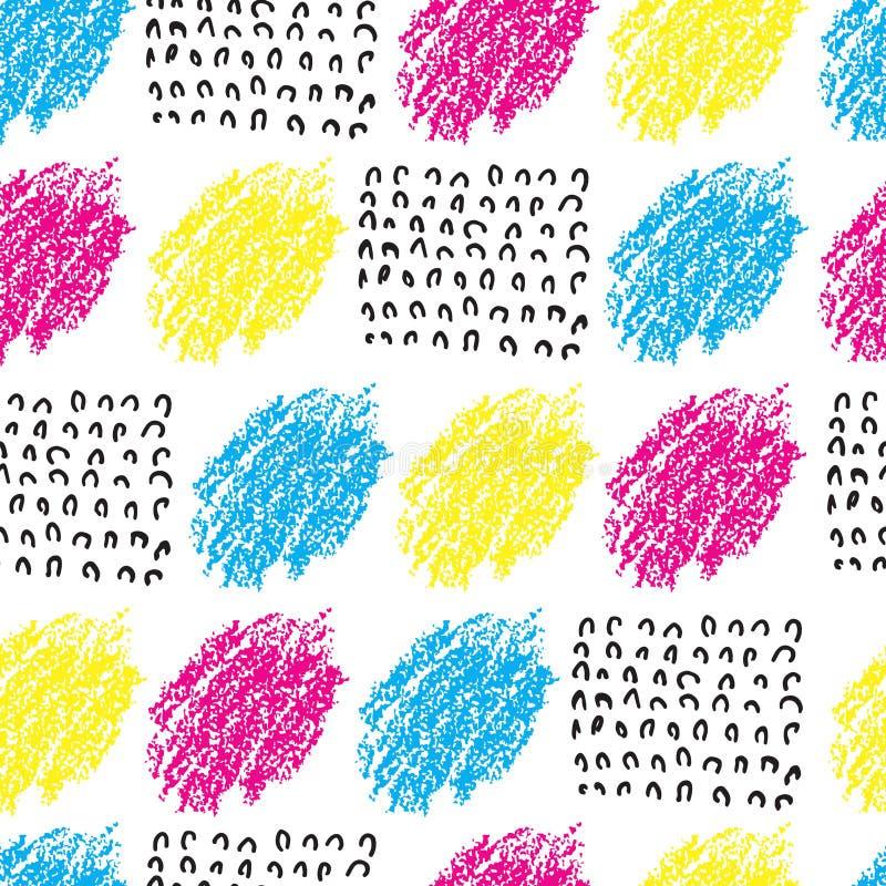 Färgrik sömlös modell för vektor med den borstefläckar och vågen Färg för svart för rosa färgblåttguling på vit bakgrund Hand royaltyfri illustrationer