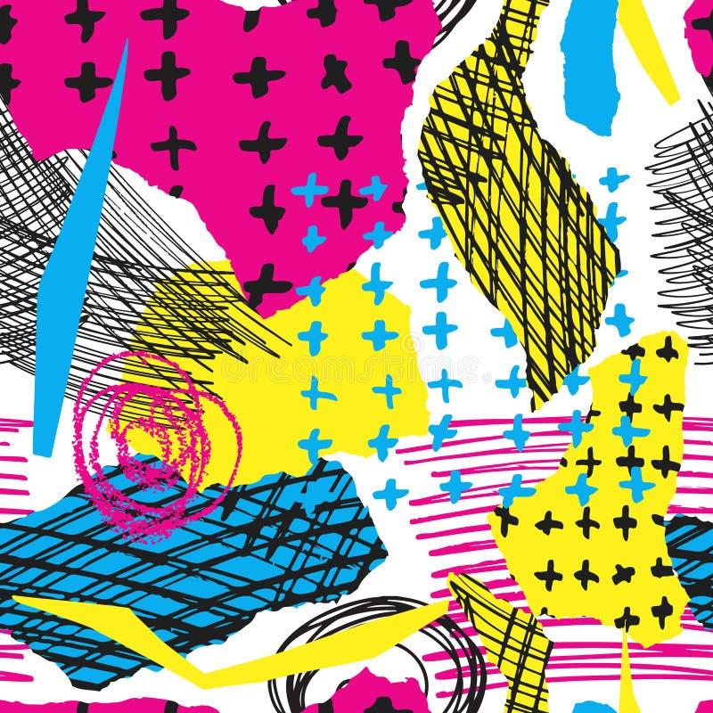 Färgrik sömlös modell för vektor med det borsteslaglängder och korset Färg för svart för rosa färgblåttguling på vit bakgrund Han stock illustrationer