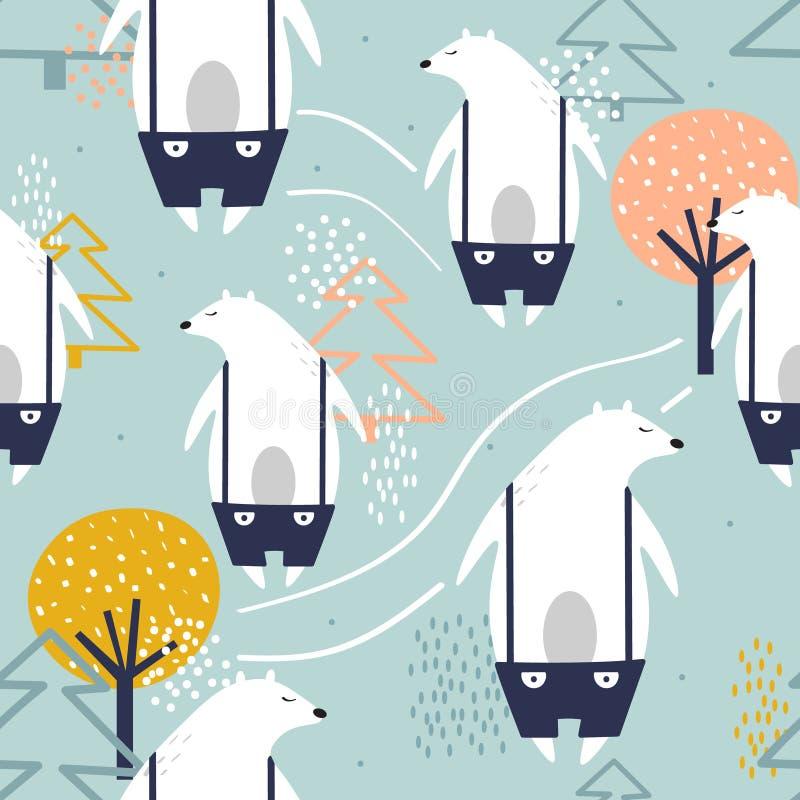 Färgrik sömlös modell, gulliga björnar, granträd och träd Dekorativ bakgrund med djur stock illustrationer