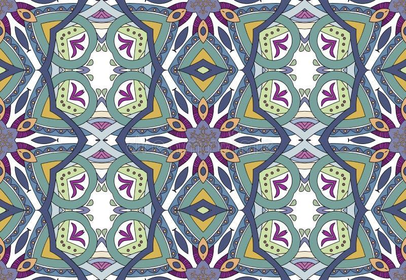 Färgrik sömlös modell i stil för mosaikmandalaarabesque Abstrakt hand dragen konst, stiliserad blom- klotterbakgrund Stam- och royaltyfri illustrationer