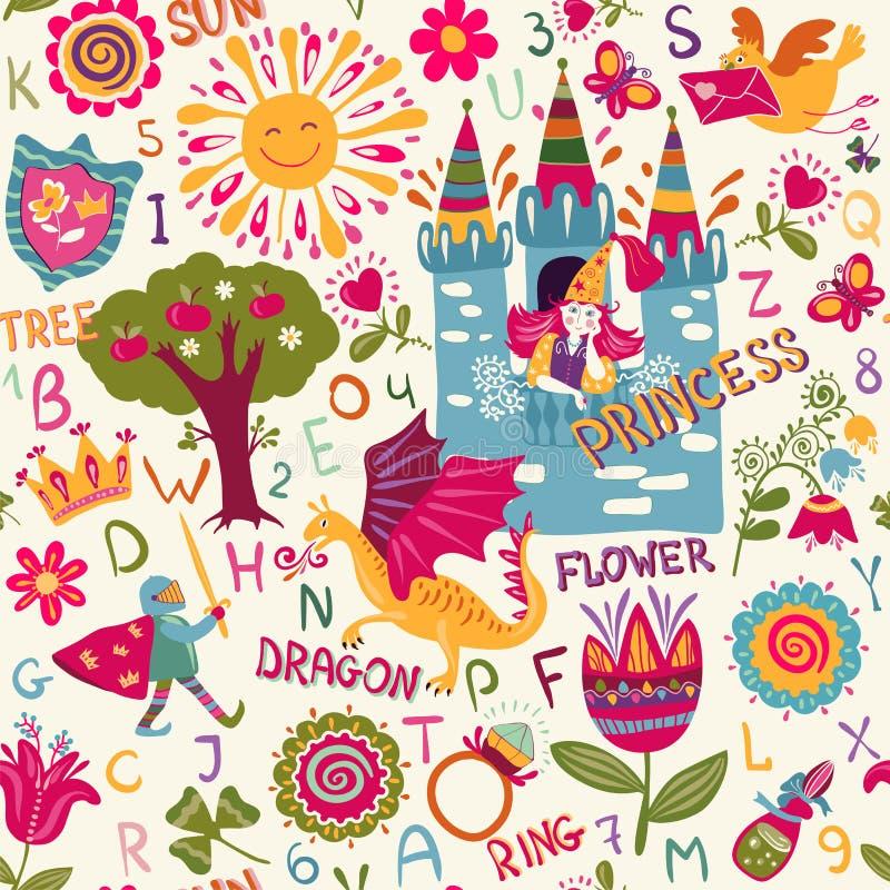 Färgrik sömlös modell med alfabet, nummer och målade roliga tecken Barnvektorbakgrund för att lära stock illustrationer