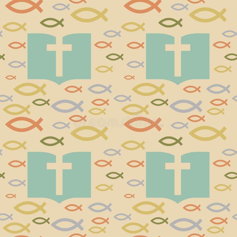Färgrik sömlös modell med kristna symboler Bibel-, kyrka- och klosterbroderbeståndsdelar vektor illustrationer