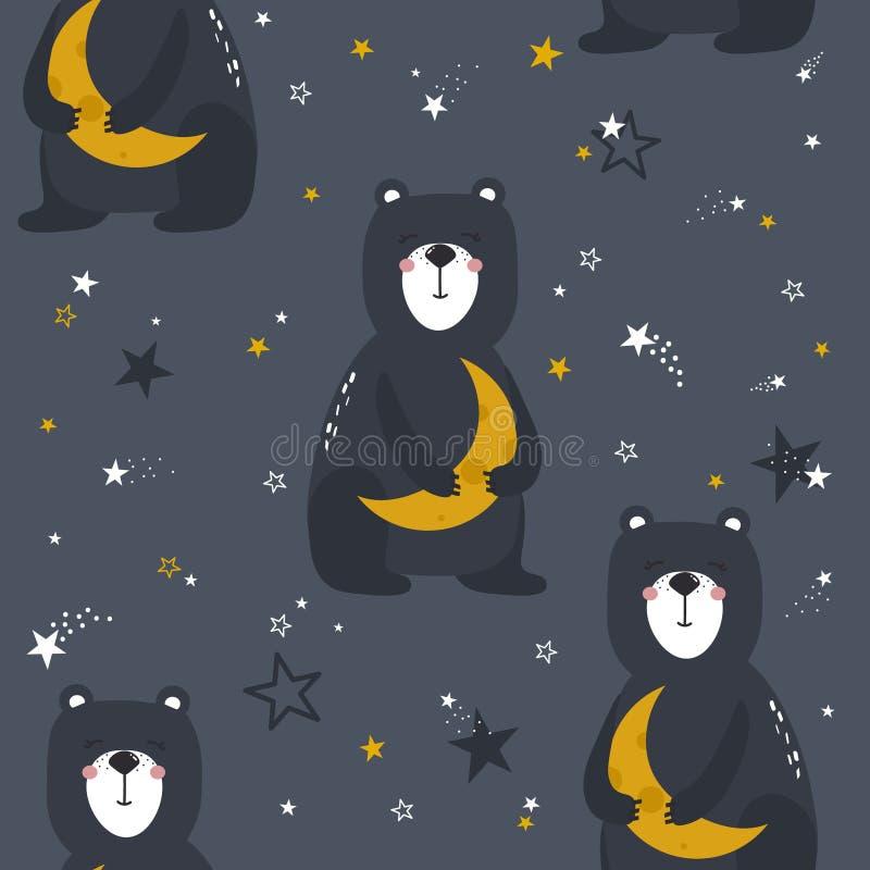 Färgrik sömlös modell med lyckliga björnar, måne, stjärnor Dekorativ gullig bakgrund med djur, natthimmel vektor illustrationer
