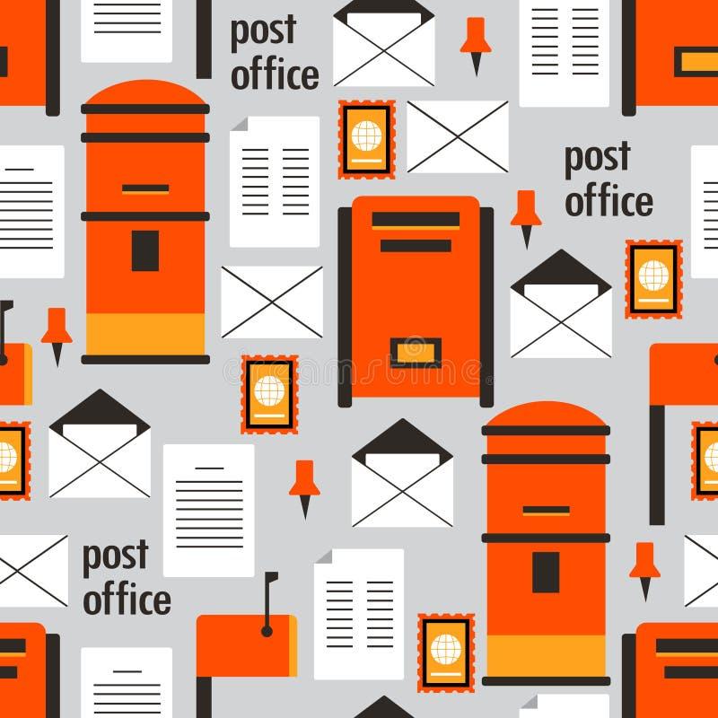 Färgrik sömlös modell med postaskar, kuvert och bokstäver vektor illustrationer