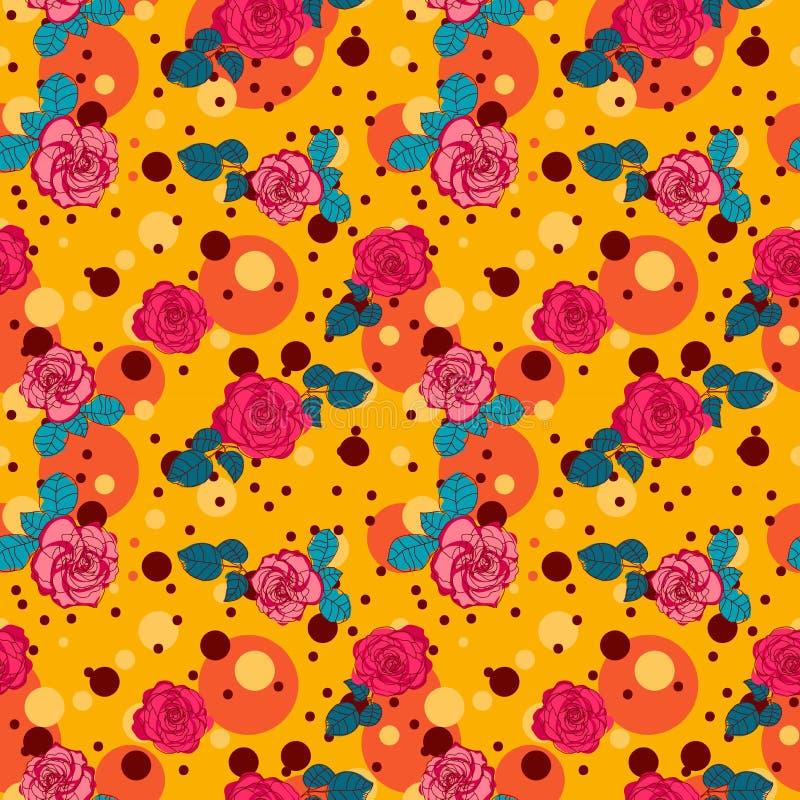 Färgrik sömlös modell med rosa rosor och prickar på gula bakgrunder royaltyfri illustrationer