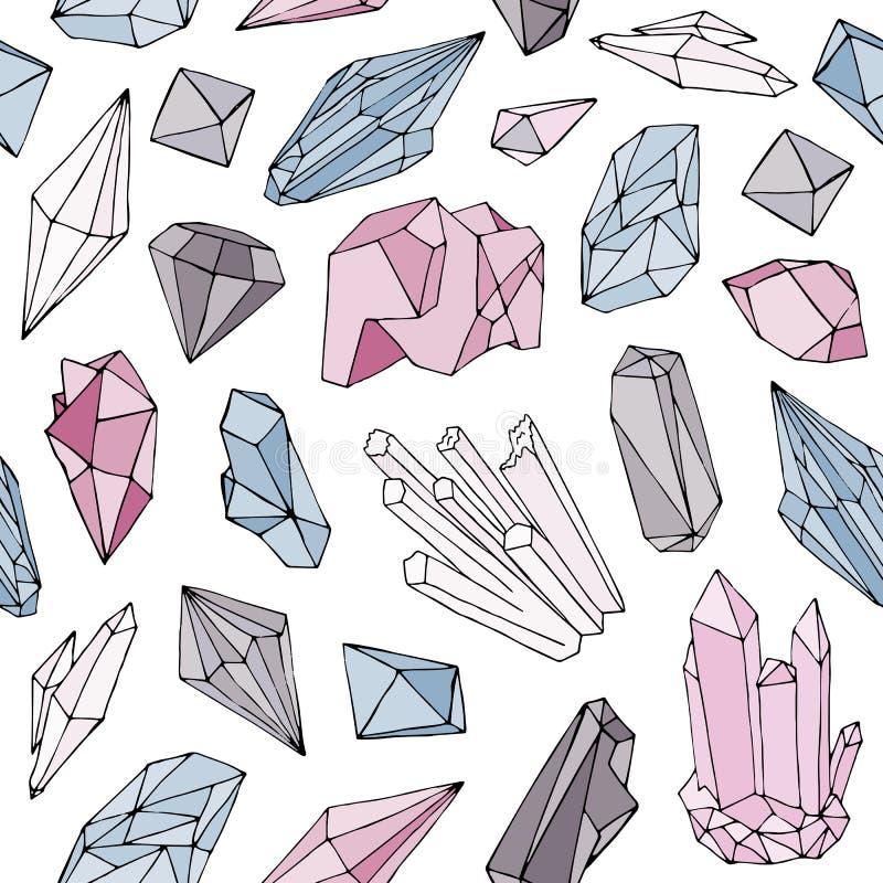 Färgrik sömlös modell med ursnygga naturliga gemstones, mineraliska dyrbara och halvädla fasetterade stenar för kristaller, royaltyfri illustrationer