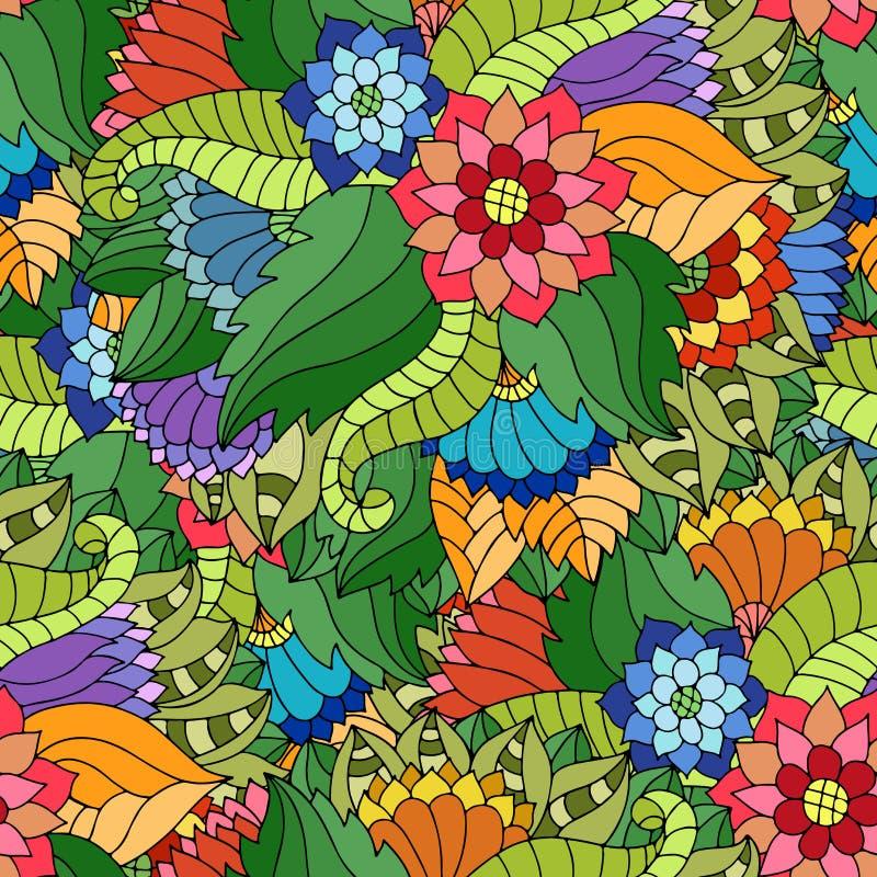 Färgrik sömlös modell med vildblommor och sidor i zigenare s royaltyfri illustrationer