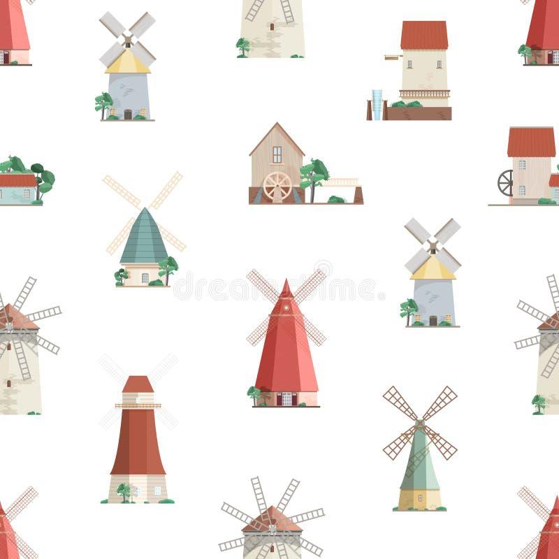 Färgrik sömlös modell med watermills och väderkvarnar på vit bakgrund Bakgrund med gammalt europeiskt vind och vatten royaltyfri illustrationer
