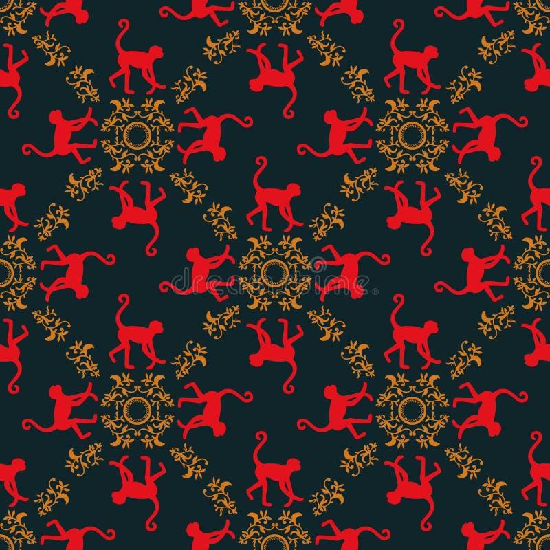 Färgrik sömlös modellbakgrund med apor Symbol av 2016 år Röd apatextur med den guld- blom- prydnaden royaltyfri illustrationer
